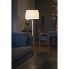 Lámpara de pie Berni en color blanco con pantalla textil blanca