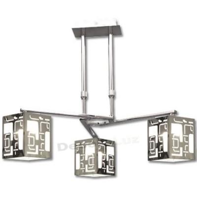 Lámpara 3 brazos pantallas modernas color negro blanco
