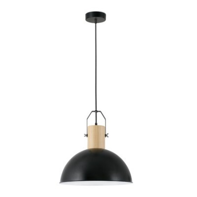 Lámpara colgante Margot en metal negro y madera