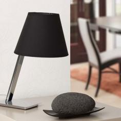 Lámpara de mesa moderna Moma en cromo con pantalla negra