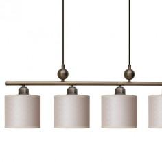 Lámpara techo cuatro luces Capri en cuero viejo con pantallas cilindro