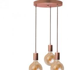 Lámpara plafón Chloe tres portalámparas metal en cobre