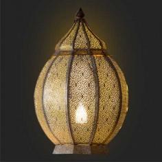 Sobremesa árabe Medina en metal calado dorado patinado blanco