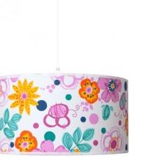 Lámpara colgante juvenil Flowers estampado flores de colores