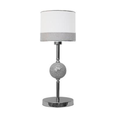 Lámpara de sobremesa Circonita Plata con pantalla blanca y bola mosaico