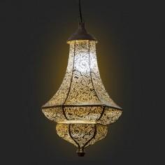 Lámpara colgante estilo árabe Cassara metal dorado y blanco patinado