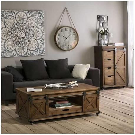 Comprar mesa centro cortijo en madera y metal negro con ruedas for Ixia muebles