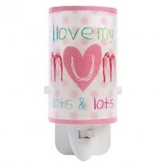 Luz noche quitamiedos Mum & Dad en blanco y rosa
