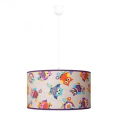 Lámpara colgante juvenil Búhos con pantalla textil
