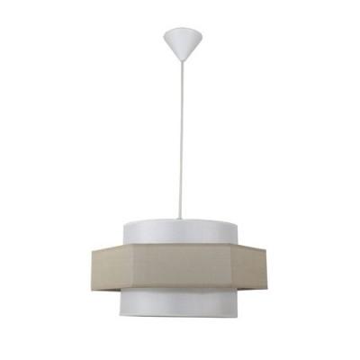 Lámpara colgante Hexágono doble pantalla textil beige y piedra