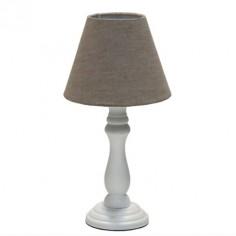 Set dos lámparas de mesa en madera blanca con pantalla marrón