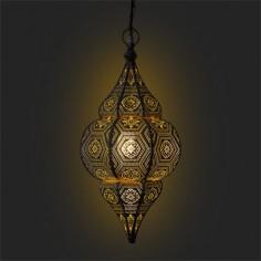Lámpara colgante árabe Emir dorado patinado blanco en metal calado