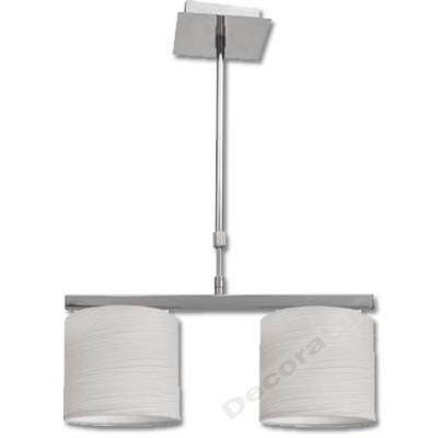 Lámpara cromo con pantallas blancas