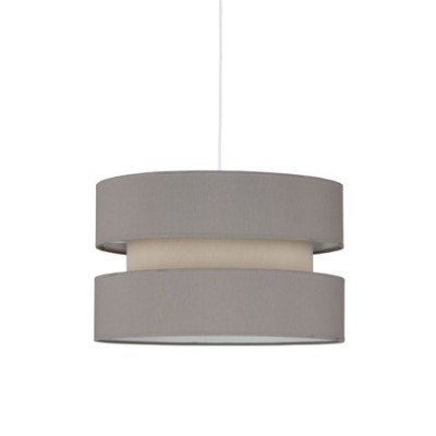 Lámpara colgante pantalla textil triple en gris y piedra