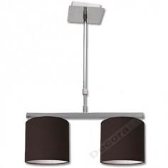 Lámpara moderna en cromo con pantallas en color marrón chocolate