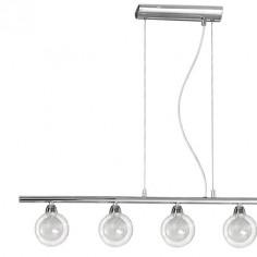 Lámpara lineal Lisboa en cromo con cinco luces doble tulipa cristal