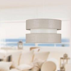 Lámpara colgante triple pantalla Duna textil en beige y piedra