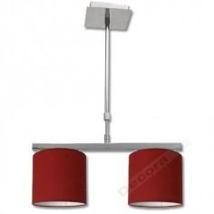 Lámpara con acabado cromado y pantallas en color rojo