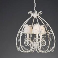 Lámpara colgante Eco en metal blanco con tres luces y cristales
