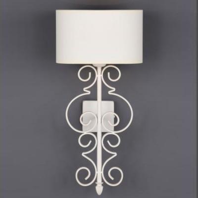 Lámpara pared Alexia en metal blanco con pantalla ovalada textil