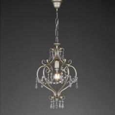 Lámpara colgante Dion pequeño plata envejecida y abalorios cristal