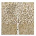 Mural pared Árbol mosaico espejos en madera beige