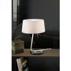 Lámpara de mesa Hotel blanca con pantalla textil