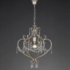 Lámpara Dion grande en plata envejecida con cristales