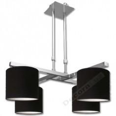 Lámpara 2 brazos horizontales cromo 4 pantallas negro