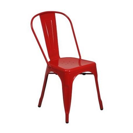 Comprar set dos sillas retro rojas brillo en metal for Sillas rojas baratas
