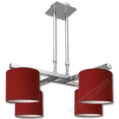 Lámpara moderna cromada 4 pantallas color rojo