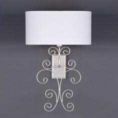 Lámpara de pared clásica Aladia plata con pantalla ovalada blanca