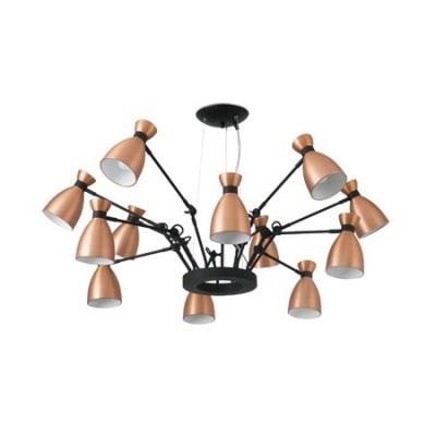 Lámpara Retro doce luces en metal cobre y negro
