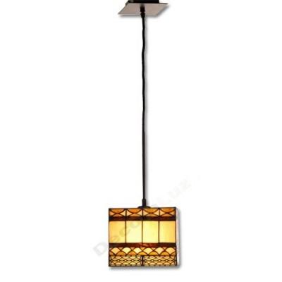Lámpara colgante metal tulipa cristal tiffany cuadrada