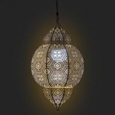 Lámpara techo árabe Noor metal calado dorado patinado blanco