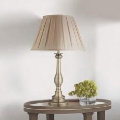 Lámpara de sobremesa Flemish en cuero con pantalla textil tablas