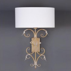 Lámpara pared clásica Brote grande oro francés pantalla oval blanca