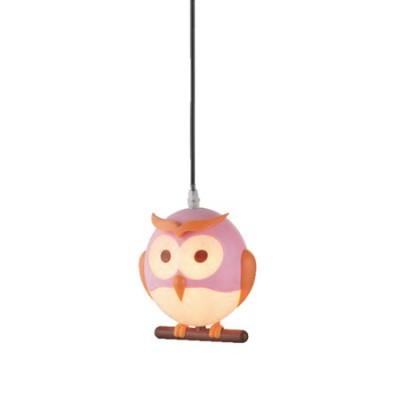 Lámpara colgante Novelty rosa con forma de búho