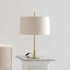 Sobremesa Infinito pequeño en oro con pantalla textil en blanco roto