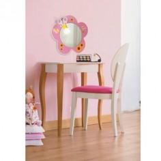 Lámpara de pared infantil espejo Novelty en rosa con mariposas y flores