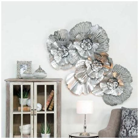 Comprar mural decoraci n pared grande flores metal plata for Decoracion pared metal