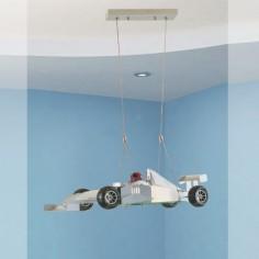 Lámpara infantil colgante coche F1 en metal y cristal
