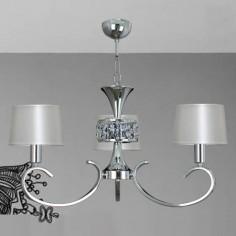 Lámpara techo tres luces en cromo con pantallas en perla