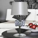 Lámpara mesa cromo y cristales con pantalla en perla