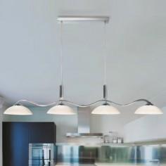 Lámpara techo Bar Light en cromo cuatro luces tulipas cristal