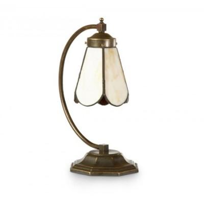 Lámpara sobremesa Luigi en metal anticuario tulipa cristal tiffany crema