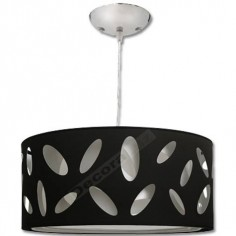 Lámpara colgante tres pantallas caladas en blanco y negro