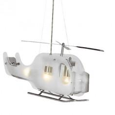 Lámpara techo infantil Helicóptero cristal y plata satinada Novelty