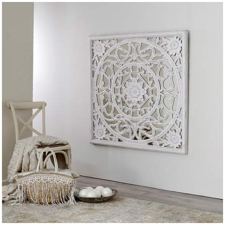 Comprar mural talla estilo rabe madera blanco decap con espejo - Paneles decorativos madera tallada ...