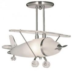 Lámpara techo infantil avioneta Novelty telescópica en plata y cristal